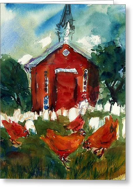 Church Hens Greeting Card by Diana Ludwig