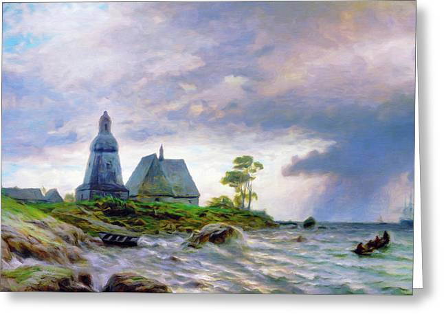Church House By The Sea Greeting Card