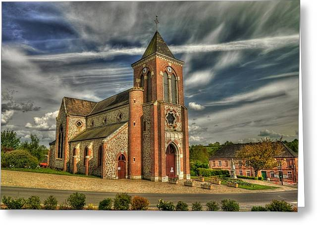 Church In La Neuvilles Aux Joutes Greeting Card by Hans Kool