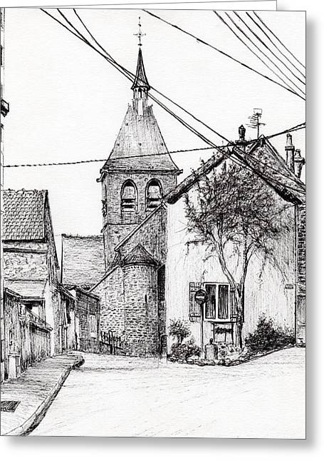 Church Street Greeting Cards - Church in Laignes Greeting Card by Vincent Alexander Booth