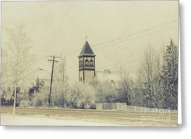 Church In The Fog Greeting Card by Priska Wettstein