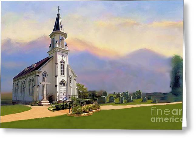 Church In The Wildwood Greeting Card by Janette Boyd and Nancy Noyes