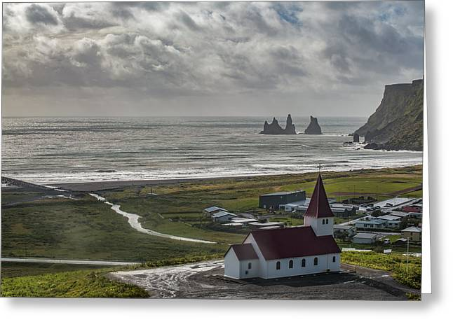 Church In Vik Greeting Card by Jon Glaser