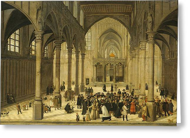 Church Interior With Christ Preaching To A Congregation, 1570 Greeting Card