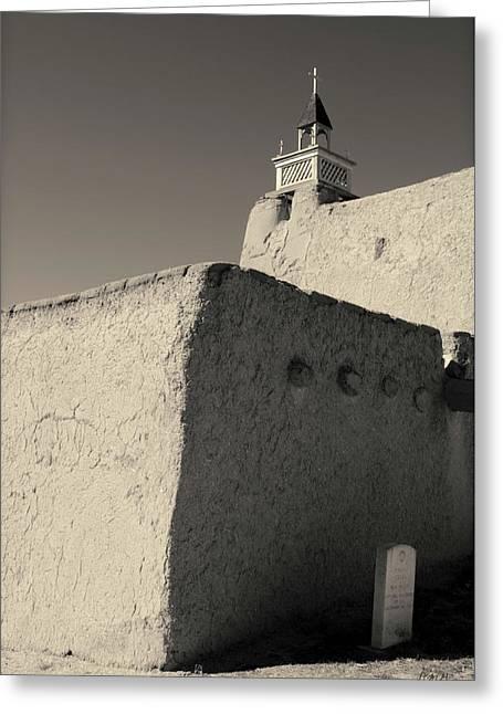 Church - Las Trampas Nm Toned Greeting Card by David Gordon