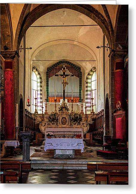 Church Of St Andrew Levanto Italy Greeting Card by Joan Carroll