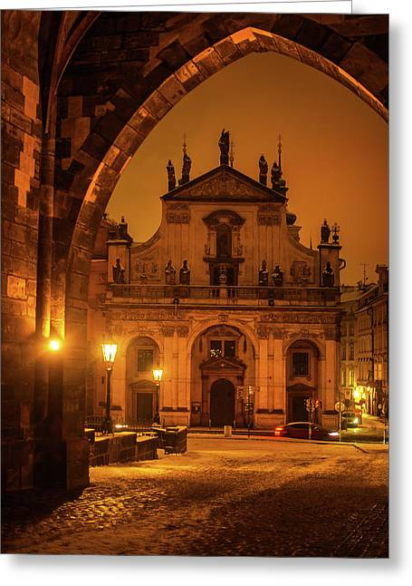 Church Of St. Salvador. Prague. Golden Greeting Card by Jenny Rainbow