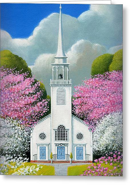 Church Of The Dogwoods Greeting Card by John Deecken