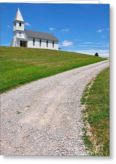 Church On A Hill Greeting Card