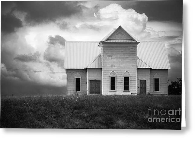 Church On Hill In Bw Greeting Card
