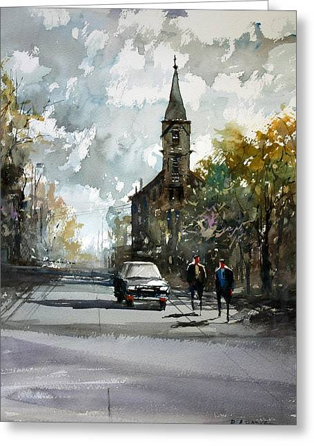 Church Street Greeting Cards - Church on the Hill Greeting Card by Ryan Radke