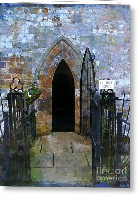 Church Open Greeting Card by Mindy Newman
