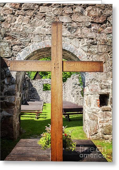 Church Ruin Altar Greeting Card
