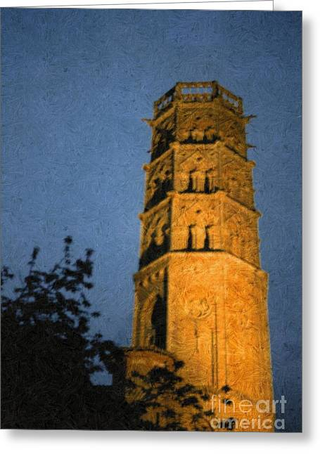 Greeting Card featuring the photograph Church Steeple by Jean Bernard Roussilhe