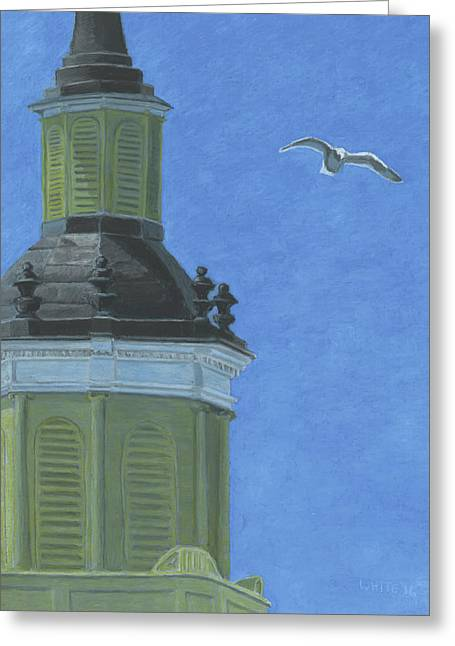 Church Steeple With Seagull Greeting Card