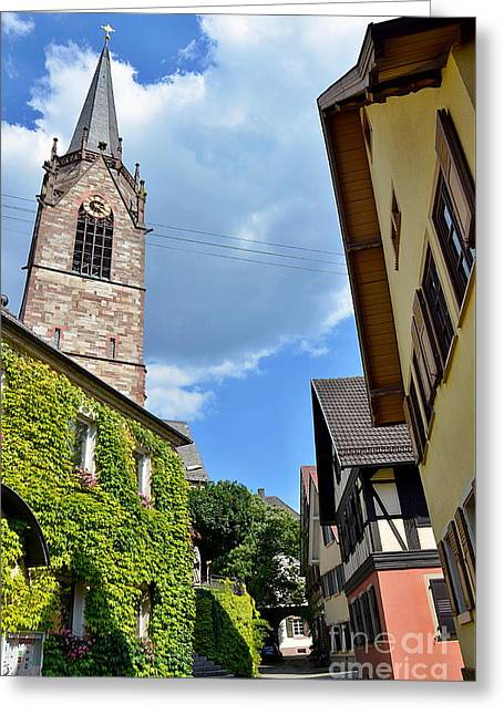 Church Tower Between Houses Greeting Card by Elzbieta Fazel