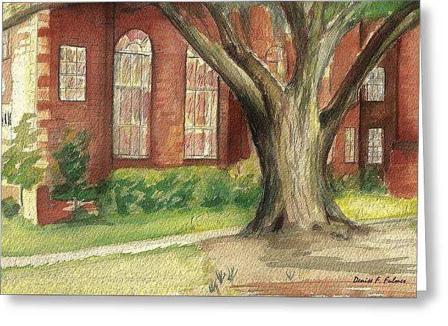 Greeting Card featuring the painting Church Tree by Denise Fulmer