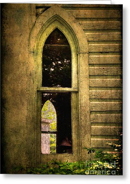 Church Window Church Bell Greeting Card by Lois Bryan
