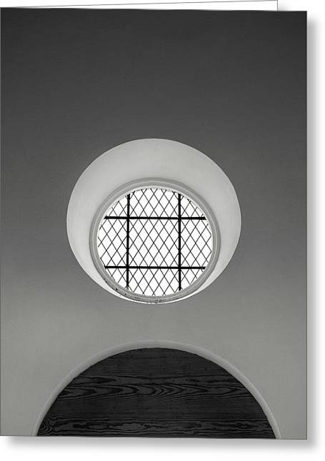 Church Window In Black And White Greeting Card