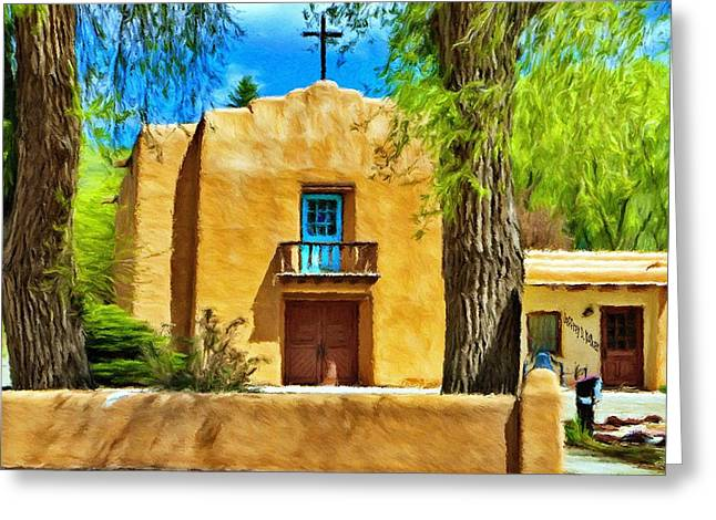 Adobe Digital Greeting Cards - Church with Blue Door Greeting Card by Jeff Kolker