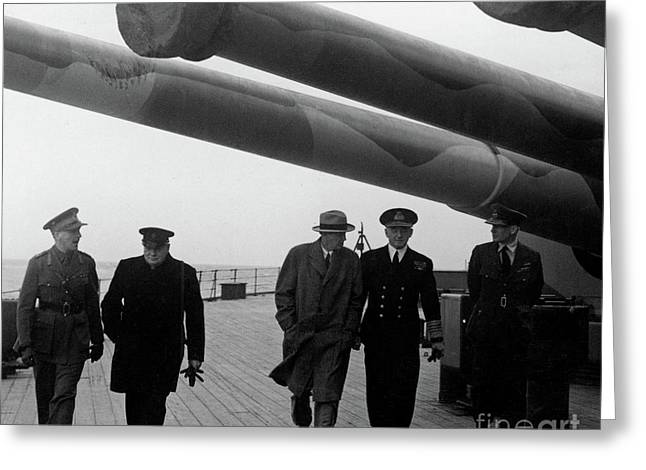 Churchill Aboard The Hms Prince Of Wales, 1941 Greeting Card
