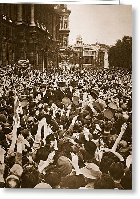 Churchill Mobbed In Whitehall On Ve Day Greeting Card