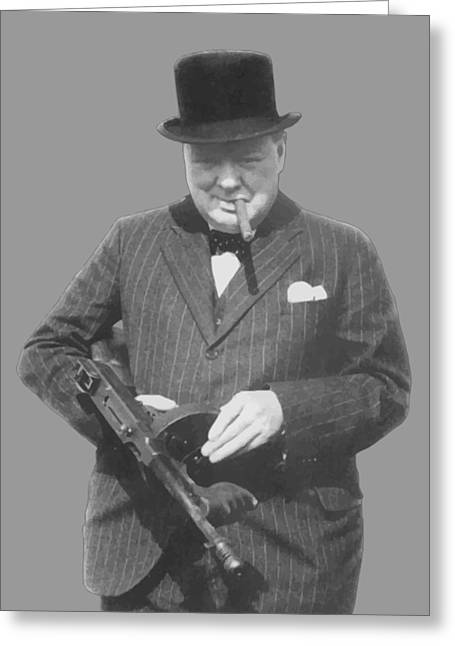 Churchill Posing With A Tommy Gun Greeting Card