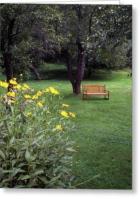 Churchyard Bench - Woodstock, Vermont Greeting Card