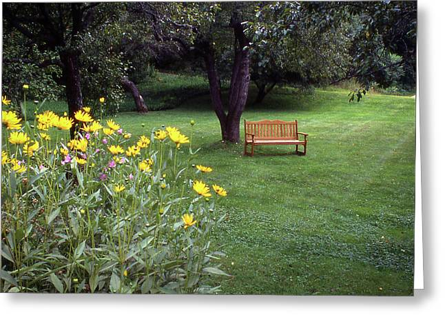 Churchyard Bench - Woodstock, Vermont Greeting Card
