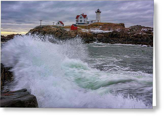 Churning Seas At Cape Neddick Greeting Card by Rick Berk