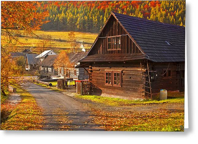 Cicmany -old Village  In Slovakia Greeting Card by Renata Vogl