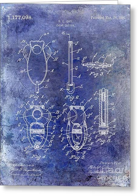 Cigar Cutter Patent 1916 Blue Greeting Card by Jon Neidert