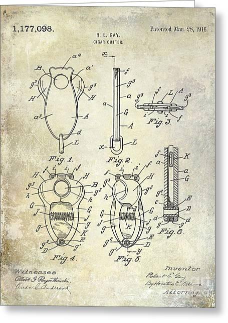 Cigar Cutter Patent 1916 Greeting Card by Jon Neidert