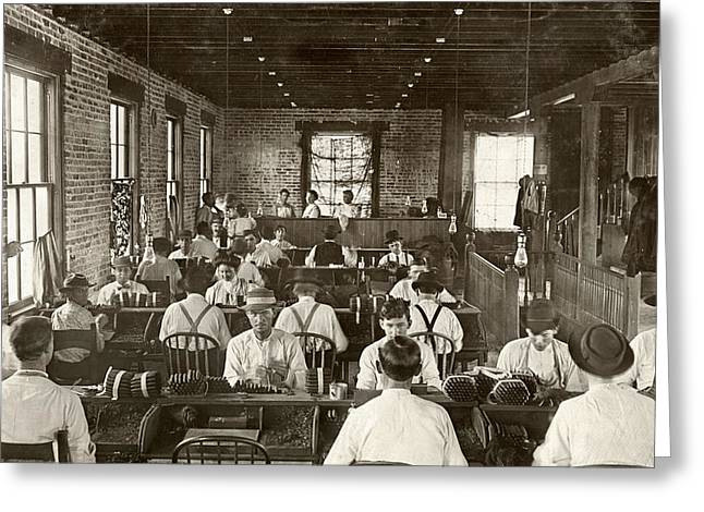 Suspenders Greeting Cards - Cigar Factory, 1909 Greeting Card by Granger
