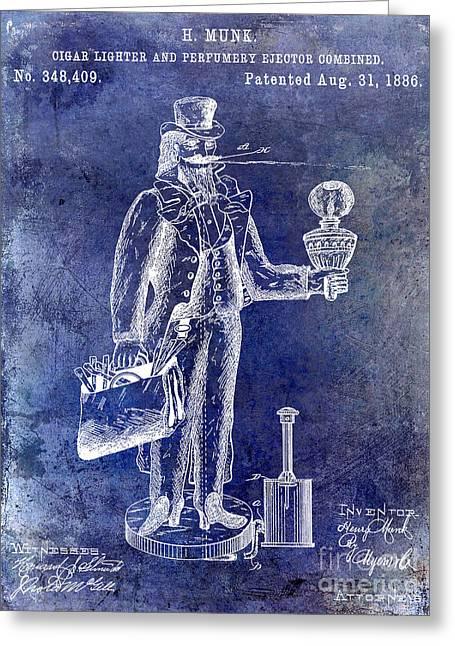 Cigar Lighter Patent 1886 Blue Greeting Card