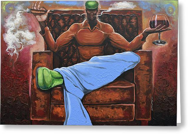 Cigar Lounge Greeting Card by The Art of DionJa'Y