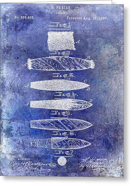 Cigar Patent 1887 Blue Greeting Card