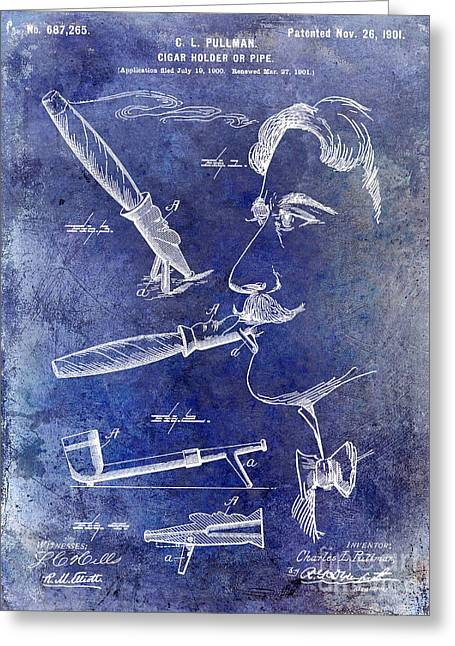 Cigar Patent 1901 Blue Greeting Card