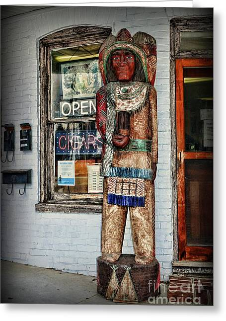 Greeting Card featuring the photograph Cigar Store Indian by Paul Ward