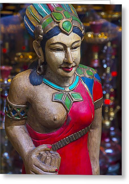 Cigar Store Indian Princess Greeting Card by Garry Gay