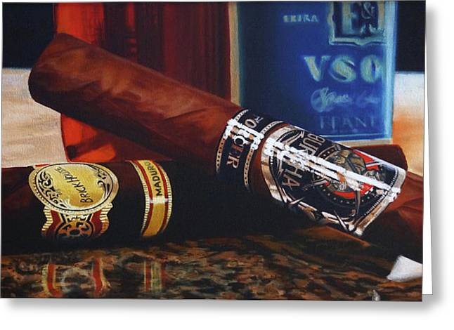 Cigars And Brandy Greeting Card by Eric Renner