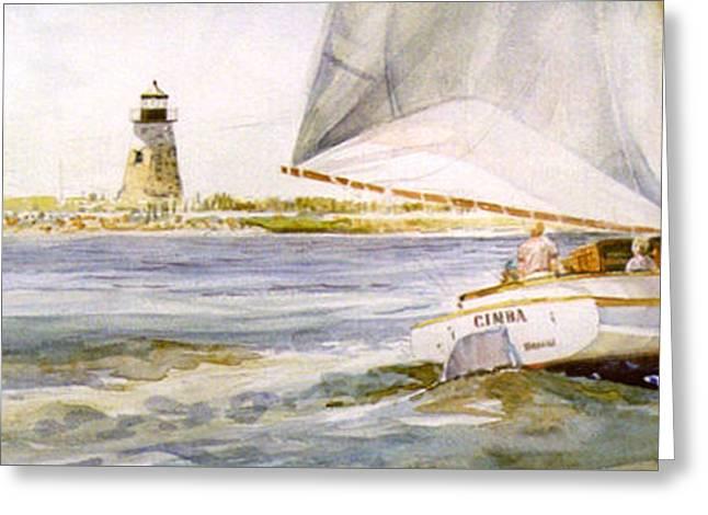 Cimba At Bird Island Light Greeting Card