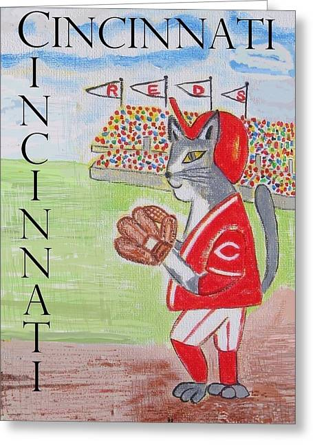Cinci Reds Cat Greeting Card by Diane Pape