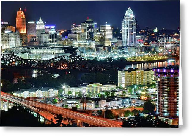 Cincinnati And Covington Collide Greeting Card