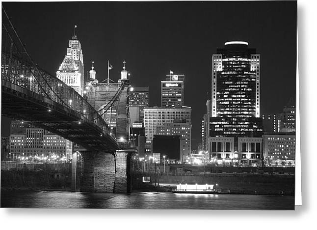 Suspension Greeting Cards - Cincinnati at Night Greeting Card by Russell Todd