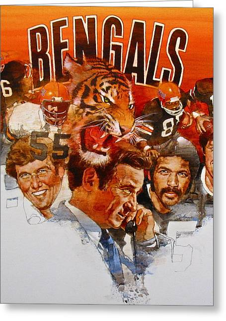 Greeting Card featuring the painting Cincinnati Bengals by Cliff Spohn