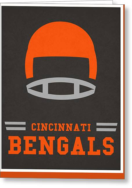 Cincinnati Bengals Vintage Art Greeting Card by Joe Hamilton