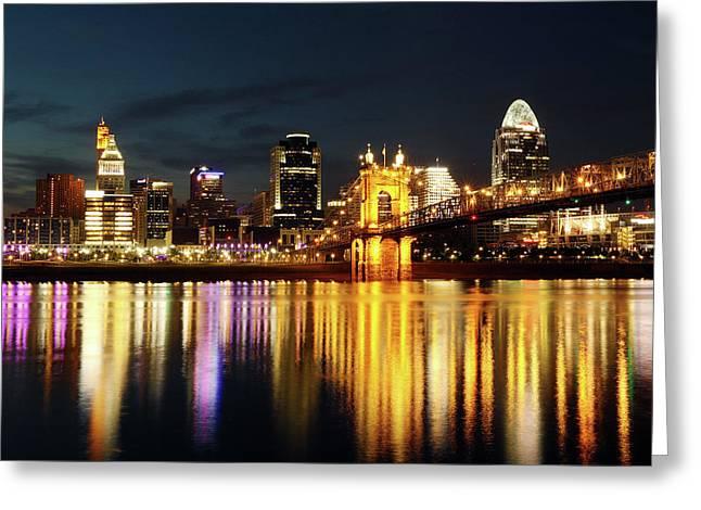 Cincinnati Dusk Greeting Card by David Yunker