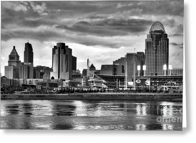 Cincinnati Evening Home Game Black And White Greeting Card by Mel Steinhauer