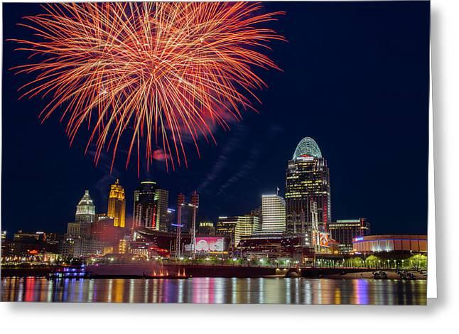 Cincinnati Fireworks Greeting Card by Scott Meyer